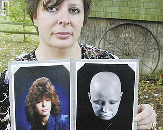 Breast-cancer survivor Heather Kish of Warren holds two photos of herself. The photo at left is from her senior year of high school, and the one at right was taken during her six months of chemotherapy treatment.