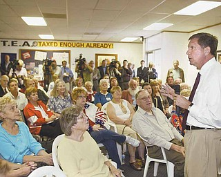"John Kasich, the Republican nominee for governor, spoke to fellow Republicans at the Mahoning County GOP headquarters in Boardman. Kasich told the crowd that ""it's a nasty time in American politics."""