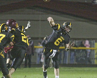 FOOTBALL - (6) Carter Hill fires a touchdown pass Friday night at Crestview. - Special to The Vindicator/Nick Mays