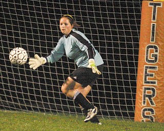 Goalie Ayla McGath of Crestview makes a save Monday night in New Middletown.