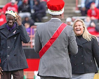 Youngstown's homecoming king, Richard Okello, and queen, Ashley Jones, are crowned during the homecoming halftime show at Stambaugh Stadium on Saturday afternoon.