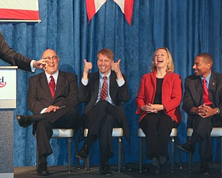 ROBERT  K.  YOSAY  | THE VINDICATOR --..David Betras Party Chairman for the Democratic Party  jokes with party faithfuls and those wishing to be elected Tuesday = Eric Brown - Richard Corday- Mary Ellen Oshaugnessy - Kevin Boyce..Former President Bill Clinton visited the Mahoning County Democrats annual breakfast Saturday morning in Youngstown..The former president was stumping for democratic hopefuls in state and congressional races here in Ohio .... -30-(AP Photo/The Vindicator, Robert K. Yosay)