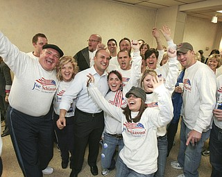 ROBERT  K.  YOSAY  | THE VINDICATOR --..CELEBRATE  Joe Schiavoni with  his supporters celebrate a big win in The November election had many incumbents and levies pass - at the ITAM club... -30-..(AP Photo/The Vindicator, Robert K. Yosay)