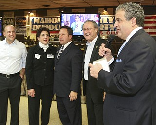 ROBERT  K.  YOSAY  | THE VINDICATOR --..winners row -  Joe Schiavoni Carol Rimedio Righetti  -  Mike Scioritino and Bob Hagan with Dave Betras at the Itam Club - The November election had many incumbents and levies pass.... -30-..(AP Photo/The Vindicator, Robert K. Yosay)
