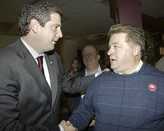 William D Lewis The Vindicator Tim ryan shakes hands with Dan Polivka, Trumbull Democratic Party Chrm during an election night party at Enzos in Warre.