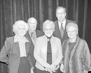 Five people out of 25 nominees received Valley Legacy Awards Oct. 14 at Mr. Anthony's Banquet Center. Those honored were, from left to right in front, Martha Whelan Murphy, Outstanding Advocate for Seniors; Elizabeth Cole Clark, Outstanding Senior; and Jean M. Schlecht, Outstanding Senior; and back row, Charles H. Whitman, Outstanding Senior, and William Adams, Outstanding Advocate for Seniors.