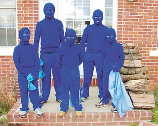 The Green brothers of Columbiana, who dressed as the Blue Man Crew, are, back from left, Chase and Keenan, and, right from left, Cutter, Kaden and Creed.