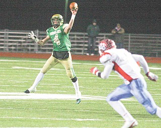 Ursuline's Paul Kempe fires the ball down field Saturday night in Ashland.