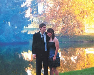 Aaron Hartsough, a freshman at Youngstown State University, and Rachael Morris, a senior at Canfield High School, stopped at Grandma's house at Speece Lake before heading to Canfield's Homecoming 2010. Photo submitted by Lana VanAuker of Canfield.