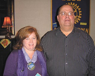 "Challenging program: Rich Blevins presented a program outlining the objectives of ""Teen Challenge"" during a recent meeting of Austintown Rotary Club. The speaker explained that the residential faith-based recovery support program for men has about a 60 percent success rate for addictions and that heroin is apparently the drug of choice in the Valley. Funded entirely by community donations, the 12-month program requires discipline, responsible decision-making and accountability. For information about admission into Ohio Valley Teen Challenge call 330-743-9030. Congratulating Blevins following his informative talk was Susan Leetch, president of Austintown Rotary."