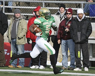 The Ursuline Irish achieved their primary season goal: to win the state title for a record third-straight time. The Fighting Irish had an impressive end to their season with a 51-21 victory over Coldwater in the Division V State Championship game at Canton's Fawcett Saturday, Dec. 4, 2010.
