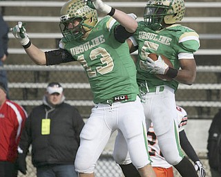 The Ursuline Irish achieved their primary season goal: to win the state title for a record third-straight time. The Fighting Irish had an impressive end to their season with a 51-21 victory over Coldwater in the Division V State Championship game at Canton's Fawcett Stadium Saturday, Dec. 4, 2010.