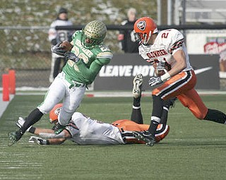The Ursuline Irish achieved their primary season goal: to win the state title for a record third-straight time. The Irish had an impressive end to their season with a 51-21 victory over Coldwater in the Division V State Championship game at Canton's Fawcett Stadium Saturday, Dec. 4, 2010.