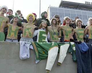 Singing the Ursuline alma mater, some brave fans bared their souls and their chests at the Division V State Championship game against Coldwater Saturday, Dec. 4, 2010, at Canton's Fawcett Stadium.