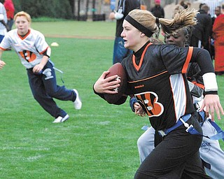Poland Middle School 8th-grader Aleah Hughes, 13, will represent the Youngstown Youth Flag Football Association in the National Football League's flag football tournament in Florida in February.