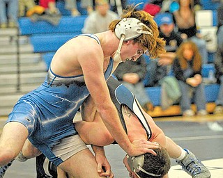 Jackson Milton's Johnny Matacic wrestles Mike Ratay of CVCA in the 135 lb class during their match at Jackson Milton on Wednesday night.