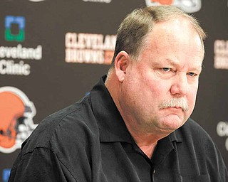 Cleveland Browns president Mike Holmgren talks to the media hours after the team fired head coach Eric Mangini, at the Browns' training facility in Cleveland on Monday, Jan. 3, 2011.