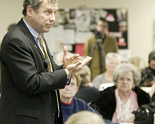 William D Lewis The Vindicator   US Senator Sherrod Brown during a 1-4-11 visit to the Austitnown Senior Center.