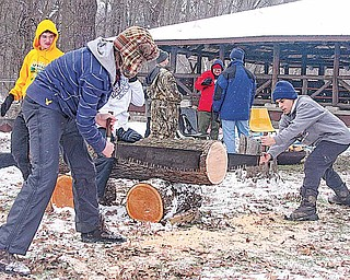 Boy Scouts, from left, Matthew Osiniak and Kyriakos Theophanous of Troop 46 in Boardman work the two-man saw Saturday afternoon during the Klondike Derby at Camp Stambaugh.