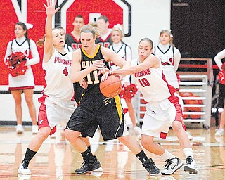 YSU Penguin Maryum Jenkins (10) strips the ball away from Lindsay Laur of the Milwakee Panthers.