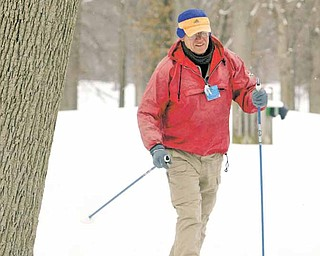 Andy Niedra of Beaver, Pa., enjoys an afternoon of cross-country skiing. He was at the Mill Creek MetroParks golf course in Boardman recently. Niedra says he often skis at the course because he enjoys the scenery and easy terrain.