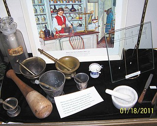An exhibit comprising antique pharmacy memorabilia is on display through February at the Sutliff Museum in Warren. Renee Stigliano, of Sharpsville, Pa., who owns the artifacts, is a second-generation pharmacist in a family in which her father, two brothers, a sister-in-law, a cousin and a niece all are pharmacists. She has developed her collection over a number of years and from a number of sources. The exhibit may be viewed from 2 to 4 p.m. Wednesday, Thursday, Friday and Saturday afternoons at the museum, on the second floor of the Warren-Trumbull County Public Library. There is no charge, and the museum is fully accessible. Tours may be arranged for other times by calling 330-399-8807, ext. 121. For more information about the museum, visit www.sutliffmuseum.org or Facebook: The Sutliff Museum.