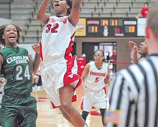 YSU's Tieara Jones shoots and scores past Destinee Blue (24) of CSU Saturday afternoon.
