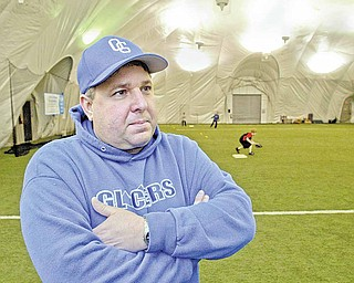 BOYS OF WINTER Manager Anthony Vross at the Glacier indoor baseball facility in Struthers.