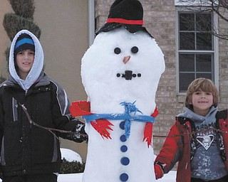 Here's a closer look at Ivan and Alec Bosnjak's well-dressed snowman. Photo sent in by their parents, Andrea and Ivan Bosnjak, all of Boardman.