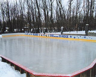 Rick and Laura Glass built this refrigerated ice rink on their property in McDonald in 2005, where friends and family from all over skate all winter. Laura Glass conducts classes for young skaters on weekends.