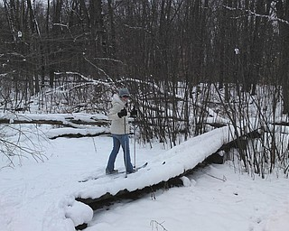 Melanie goes cross-country skiing with her father, Billy, at Quail Hollow State Park. Photo sent in by her father.