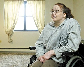 Darla Humphreys, right, talks with Jamie Watkins of Ohio's Long-Term Care Ombudsman office. Watkins helped Humphreys move into her own apartment after spending a year in a nursing home.