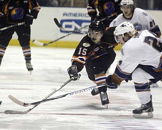 The Phantoms' Stephen Collins and Indiana's Tim Smith go for the puck Wednesday morning at the Covelli Center.