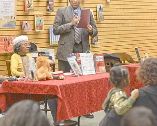 Youngstown Mayor Jay Williams reads a speech by then-Senator Barack Obama at the groundbreaking of the Dr. Martin Luther King Jr. National Memorial during the African American Read-In held by the Youngstown City Schools at Barnes & Noble Booksellers in Boardman.