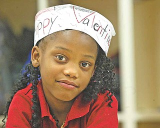 Jalyn Harper, a first-grader in Andrea McGoogan's class, got into the spirit of Valentine's Day.