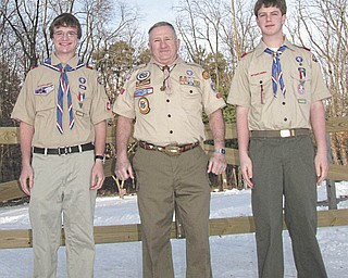 """Flanked by, from left, Eagle Scout Joseph Belgrade and Eagle Scout Taylor Marconi is retired Lt. Col. William Moss, who will be one of the honored guests at the sixth annual """"Celebration of Scouting"""" breakfast at the Holiday Inn, Boardman."""