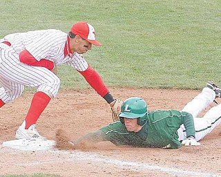 YSU - Brett Botsford beats the tag of Jeremy Banks of YSU during their game Sunday afternoon. - Special to The Vindicator/Nick Mays