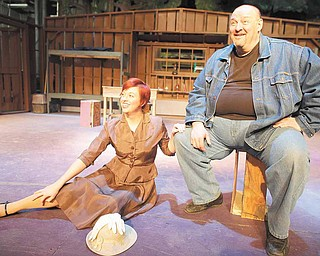 Molly Makselan (Curly's Wife) and TIm Phillips (Lenny) rehearse a scene from the Youngstown Playhouse's production of 'Of Mice and Men,' running February 18th through the 27th.