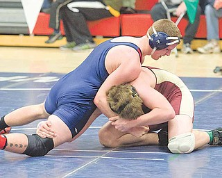 Fitch wrestler Jamie Jameson defeated Gage Finegan of Stow during the 171-pound weight class match at the Division 1 sectional wrestling tournament at Austintown Fitch High School Friday night.