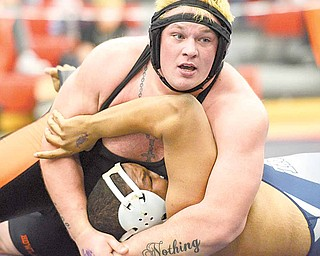 Howland's Cody Reesman defeated Sam Sims of Twinsburg in the 285-pound weight class match at the Division 1 sectional wrestling tournament at Austintown Fitch High School Friday night.