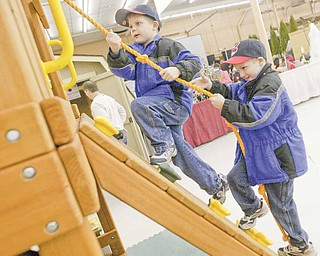 Seven-year-old Brothers Dylan (left) and Walker Barr try out some playground equipment at the Mahoning Valley Home and Garden Show Saturday at the Eastwood Expo Center in Niles.