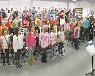 There are 120 students in the Frank Ohl Intermediate School choir. The group is led by Dan Forsberg. In addition to singing the national anthem Friday at the Covelli Centre in downtown Youngstown, the youngsters will also perform before a Pittsburgh Pirates game in May.