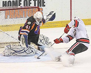Phantoms Goalie Jordan Tibbett (41) stops Tucker Brockett (10) from scoring during their game Sunday afternoon in Youngstown.
