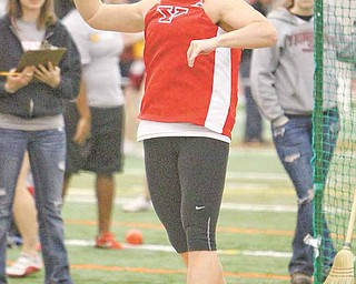 Youngstown State junior Kaitlyn Griffith gets ready to throw the shot put during the Horizon League indoor championship this weekend at the GaREAT Sports Complex in Geneva. Griffith won the event.