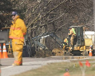 Gas was disrupted to 90 homes Tuesday afternoon when a subcontractor for Dominion East Ohio hit a pipe with a backhoe and caused a leak. Service was returned to those homes Tuesday evening.