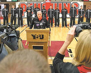 Jerry Slocum addresses the media during Youngstown State's preseason press conference. Despite a 20-loss season, Slocum will be retained for the final year of his contract by the university.
