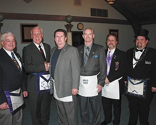 Participating in an awards ceremony during a recent meeting of Argus Lodge 545 were, from left, John Martin, Greg Anstrom, Robert Chambers, Bill Britton, Carmen Pompeii and Richard Percic.