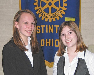 4-way winner: The Rotary Club of Austintown had its annual 4-Way Speech contest at a recent meeting. The event offers students the opportunity to apply the guiding principles of the Rotary Club to everyday concerns and events, emphasizing fair play and the benefit of all parties concerned. Stacey Pauline, a Fitch Junior, took first place with a speech about false identities, and junior Marie Bishop spoke about bullying and took second place. Pauline will compete at North Canton on March 19 in district competition representing Austintown. Above are runner-up Bishop and winner Pauline.