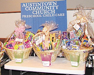 The luck of the draw: A highlight of the annual trash and treasure sale today at Austintown Community Church Preschool Childcare Center will be a raffle for a variety of gift-filled baskets. The sale will be from 9 a.m. to 1 p.m. at the church, 242 S. Canfield-Niles Road, Austintown, where the raffle drawings will begin at 12:45 p.m. Snacks, light luncheon items and beverages will be available for purchase, and proceeds from the event will go toward the purchase of developmentally appropriate classroom educational materials.