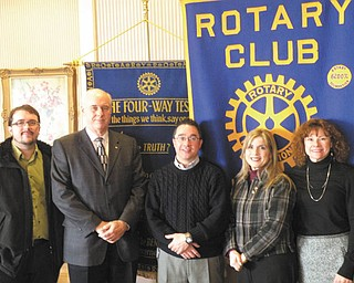 The Rotary Club of Youngstown was updated on the status of its major fundraiser by members of the reverse raffle committee, from left, John Slanina, Bill Petro and Kevin Chiu, committee members; Debbie Esbenshade, chairwoman; and Linda Kostka, committee member.